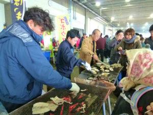 三沢市漁業協同組合 ほっき貝焼き、鮭汁他